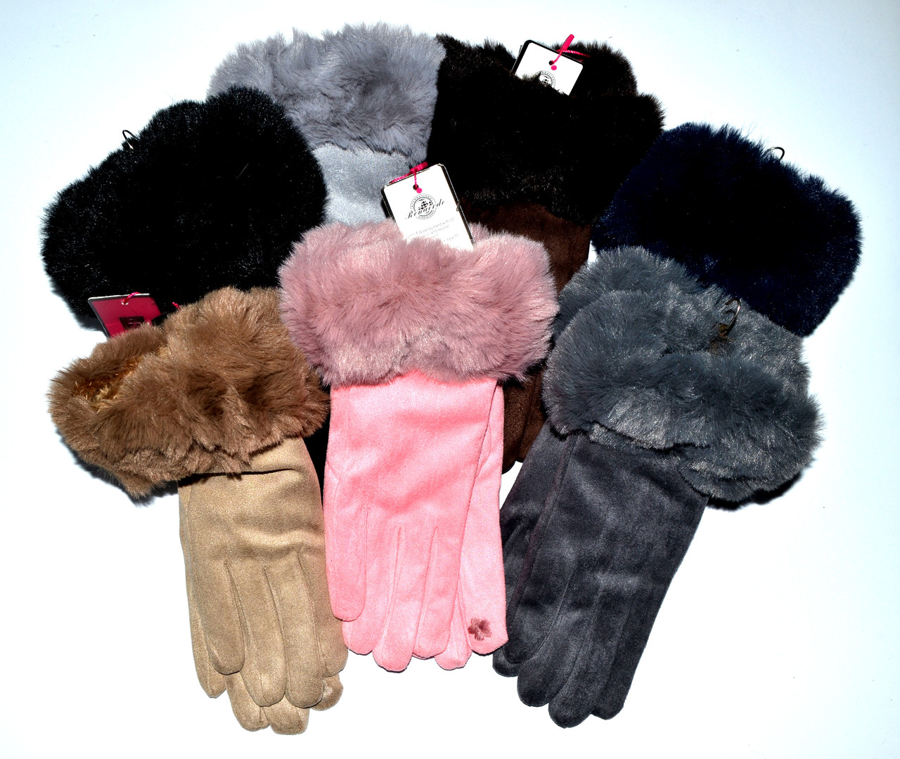 Жіночі рукавички замш/хутро оптом 12 пар