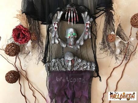 """Декор """"Подвесной круг с черепами, мигающие глаза"""", фото 2"""
