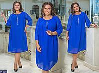 Шифоновое платье с трикотажной подкладкой в разных цветах. Размеры 50-52, 54-56, 58-60.