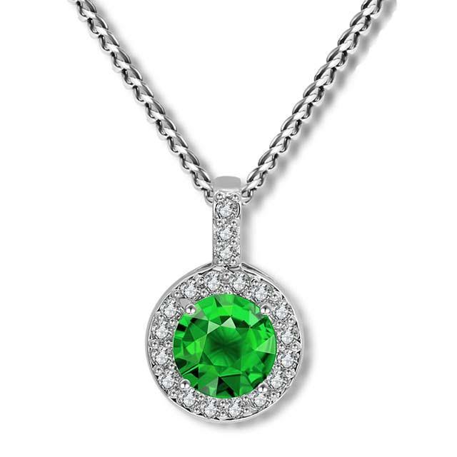 Свадебная подвеска - Кристальное солнце (Серебристая с зеленым)