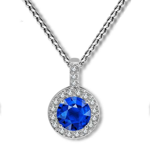 Свадебная подвеска - Кристальное солнце (Серебристая с синим)