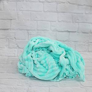 Плюшевая ткань Stripes мятная (плот. 350 г/м.кв)