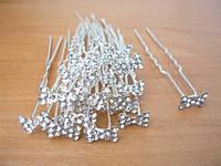 Шпильки для волос, белый металл, белые стразы(10 шт)  20_1_29