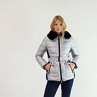 Женский приталенный пуховик Snowimage с капюшоном и натуральным мехом, серый, распродажа