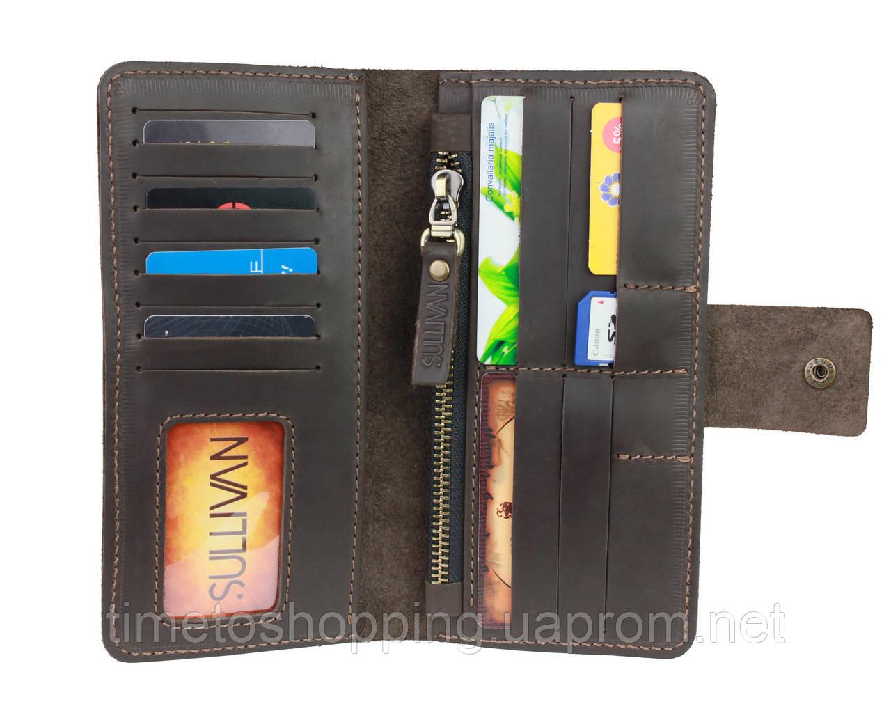 Гаманець чоловічий шкіряний купюрник для грошей портмоне картхолдер SULLIVAN