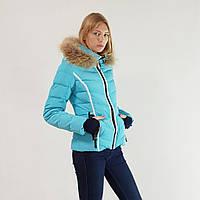 Стильный пуховик женский зимний короткий Snowimage с капюшоном и натуральным мехом голубой, скидки