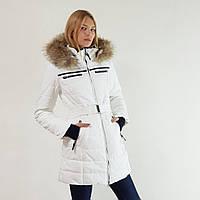 Удлиненный женский пуховик Snowimage с капюшоном и натуральным мехом белый, длинный, скидки