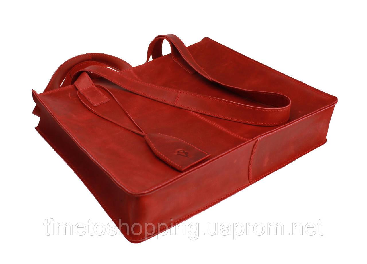 Сумка женская кожаная  большая шопер SULLIVAN sg4(40) красная