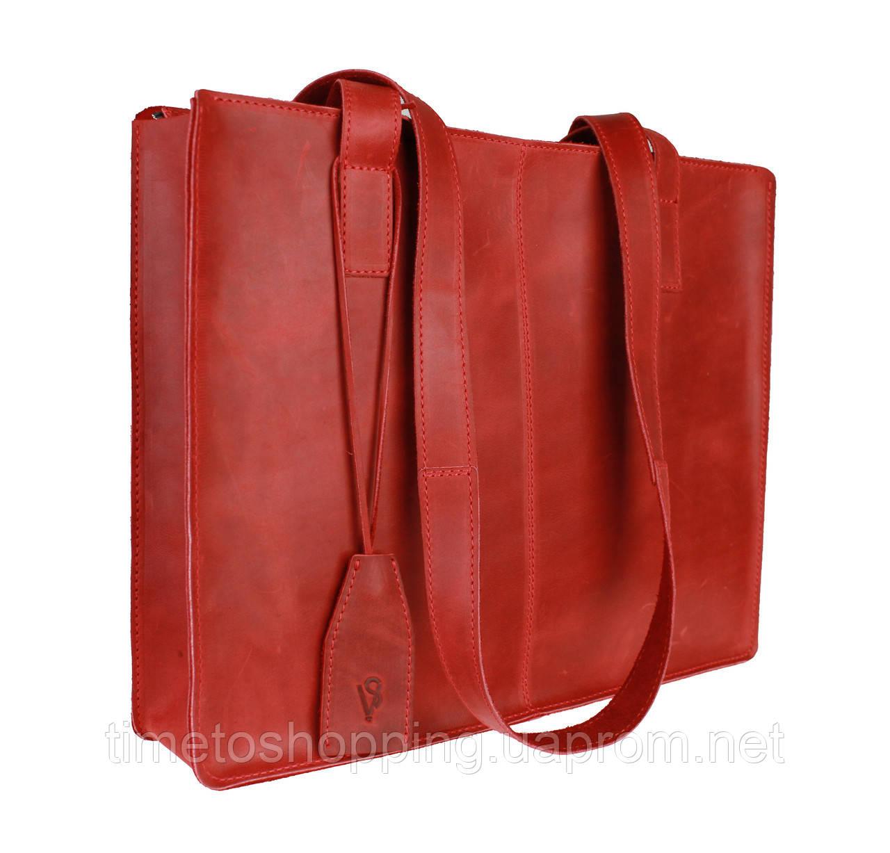 Сумка жіноча шкіряна велика шопер SULLIVAN sg4(40) червона