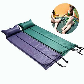 Самонадувний килимок, каремат, з подушкою, рибальський, кемпінговий