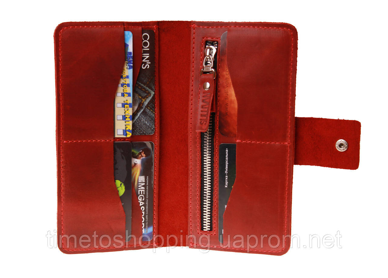 Кошелек женский кожаный большой SULLIVAN  kgb62(10) красный
