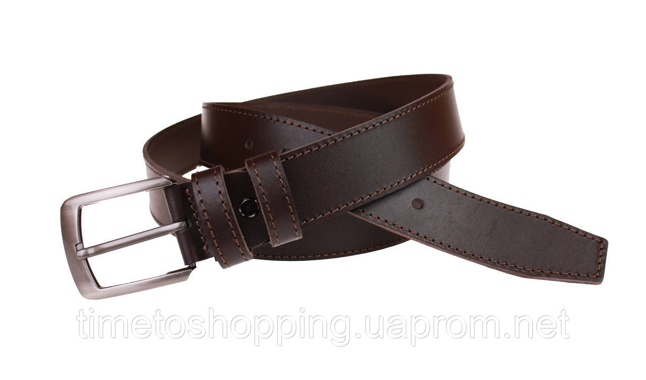 Ремень мужской кожаный джинсовый одна строчка SULLIVAN  RMK-11(7.5) 115-150 см коричневый