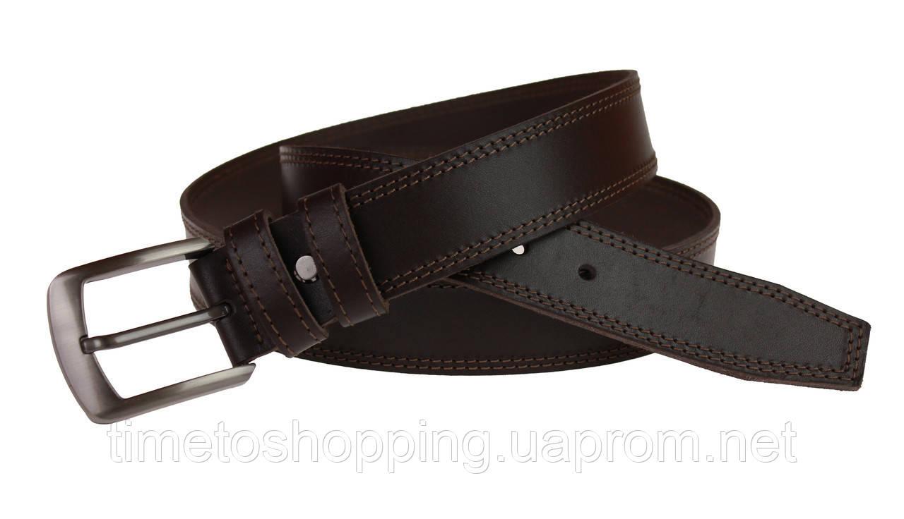 Ремень мужской кожаный джинсовый двойная строчка SULLIVAN  RMK-21(8) 115-150 см коричневый