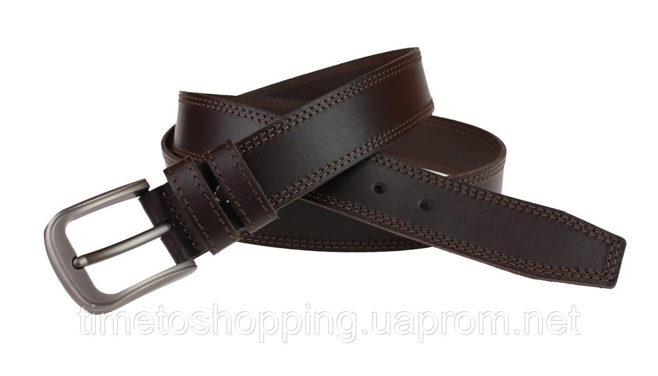 Ремень мужской кожаный джинсовый двойная строчка SULLIVAN  RMK-22(8) 115-150 см коричневый