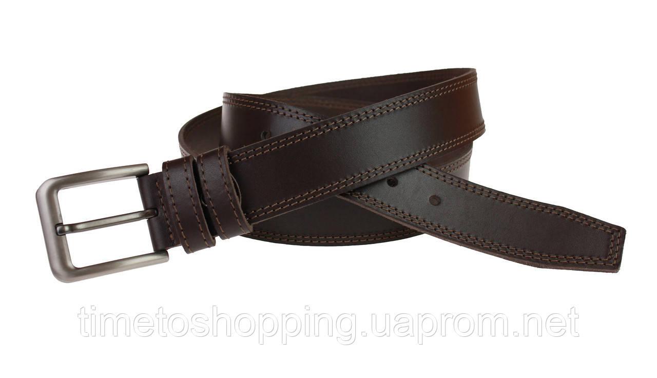 Ремень мужской кожаный джинсовый двойная строчка SULLIVAN  RMK-26(8) 115-150 см коричневый