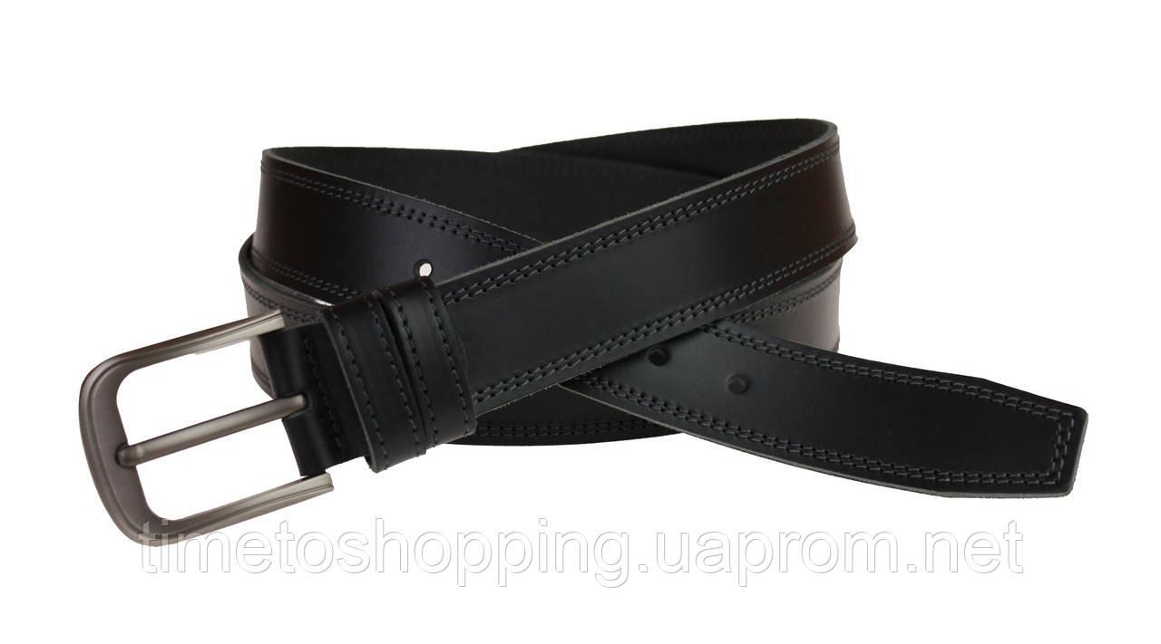 Ремень мужской кожаный джинсовый двойная строчка SULLIVAN  RMK-52(8) 115-150 см черный