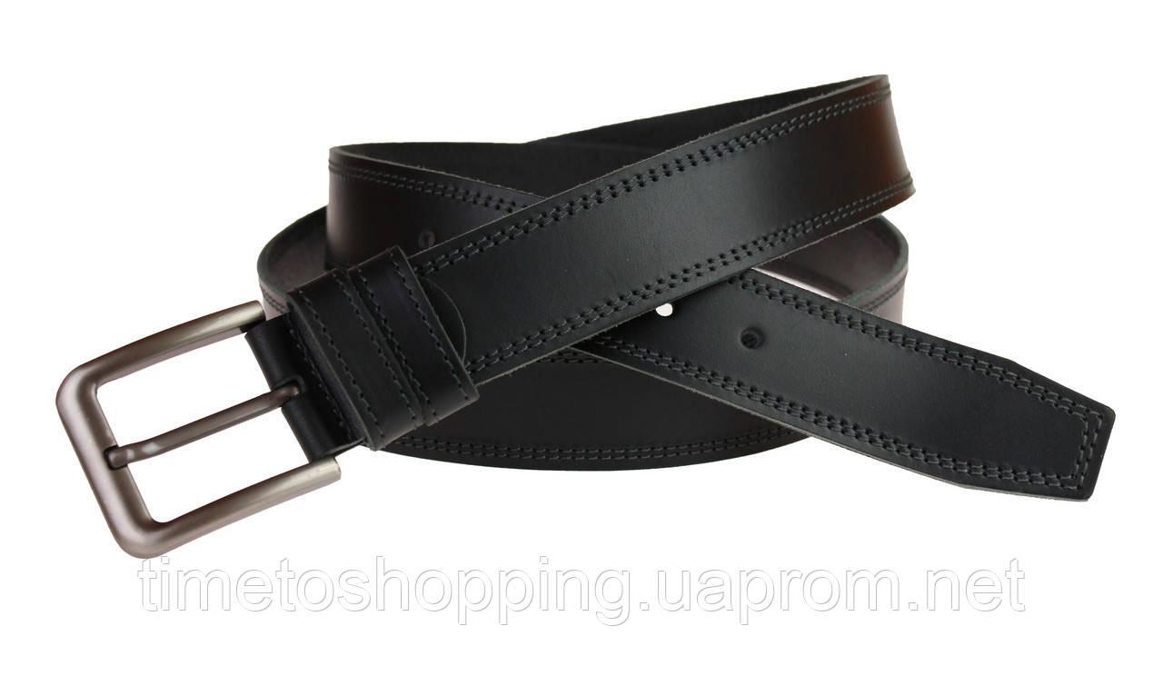 Ремень мужской кожаный джинсовый двойная строчка SULLIVAN  RMK-56(8) 115-150 см черный