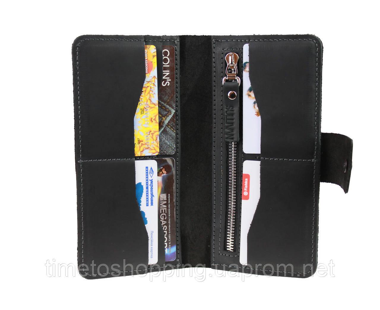 Кошелек мужской большой купюрник для денег портмоне картхолдер SULLIVAN  kmk45(10) черный
