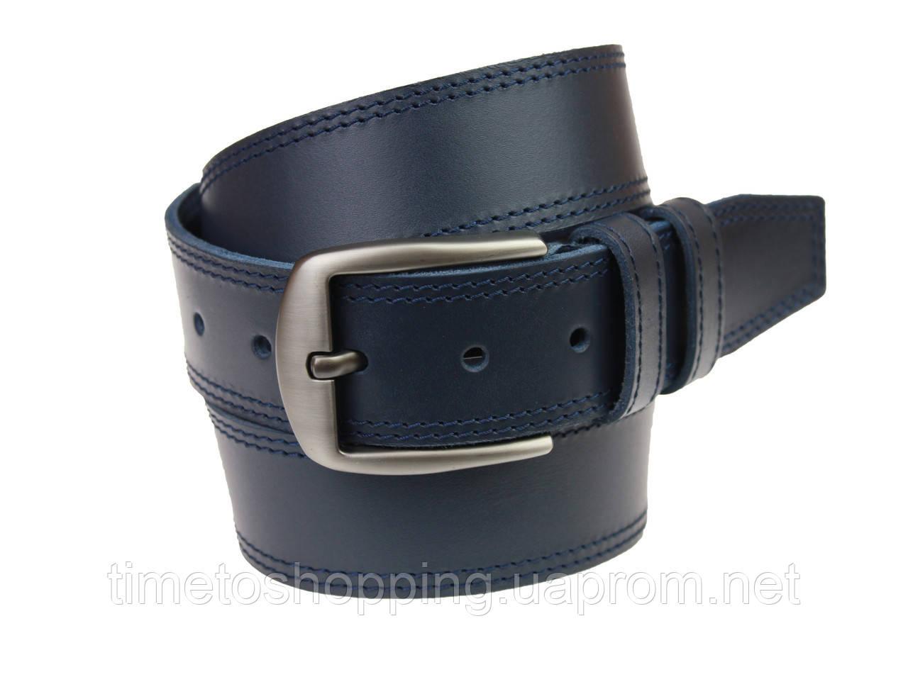 Ремень мужской кожаный джинсовый двойная строчка SULLIVAN  RMK-85(8) 115-150 см синий