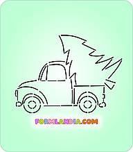 Трафарет + формочка для пряников Машина с елкой