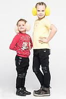 Штаны детские с кожей на коленях черные, фото 1