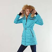 Удлиненный женский пуховик зимний Snowimage с капюшоном и натуральным мехом голубой, длинный, распродажа