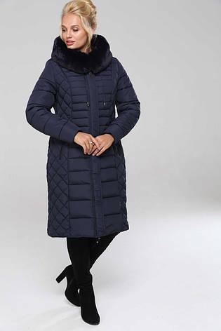 Зимовий жіночий пуховик / пальто Людмила синій розмір 48 50 52 54 56 58 60 62 64, фото 2