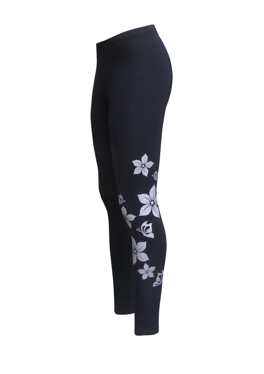 Черные лосины принт Цветы длинные