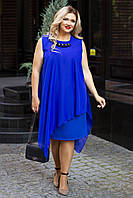 Женское платье большого размера со съемной шифоновое накидкой р. 56;58;60