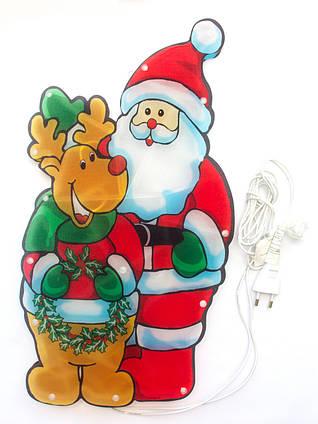 Светодиодная гирлянда-декорация фигура на окно/стену Дед Мороз и Олень 20Л (640157)