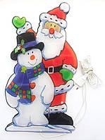 Светодиодная гирлянда-декорация фигура на окно/стену Дед Мороз и Снеговик 20Л (640164)