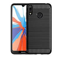 "Противоударный TPU чехол накладка для Huawei Y7 2019 (DUB-LX1) (black ""Carbon"")"