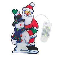 Светодиодная гирлянда-декорация фигура на окно/стену Дед Мороз и Снеговик 10Л на батарейках (640348)