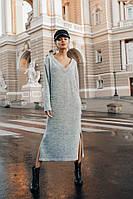 Платье теплое женское крутое свободный крой длина миди с разрезами Smdi3738