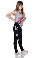 Леггинсы со звездами для девочек черные, фото 1