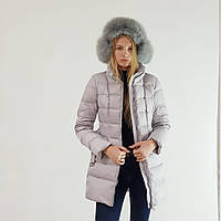 Пуховик полупальто зимнее женское Snowimage с капюшоном и натуральным мехом серое, длинный, фото 1