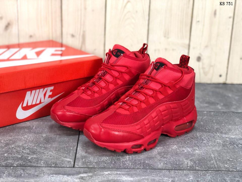 Осенние мужские кроссовки Nike Air Max 95 Sneakerboot, красные / чоловічі кросівки найк (Топ реплика ААА+)