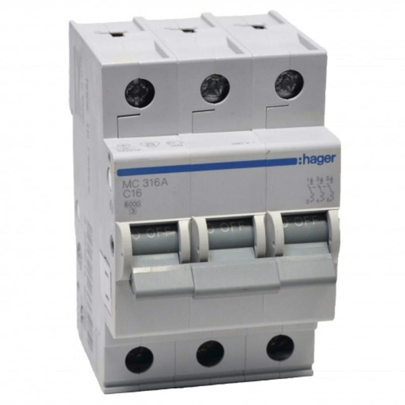 Автоматический выключатель In=63 А, 3п, С, 6 kA (MC363A) _Hager-SALE