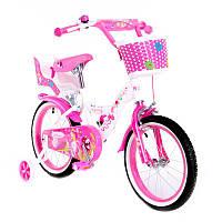 """Велосипед двухколесный  Huda Toys 16"""" розовый с корзинкой (SW-17014-16)"""