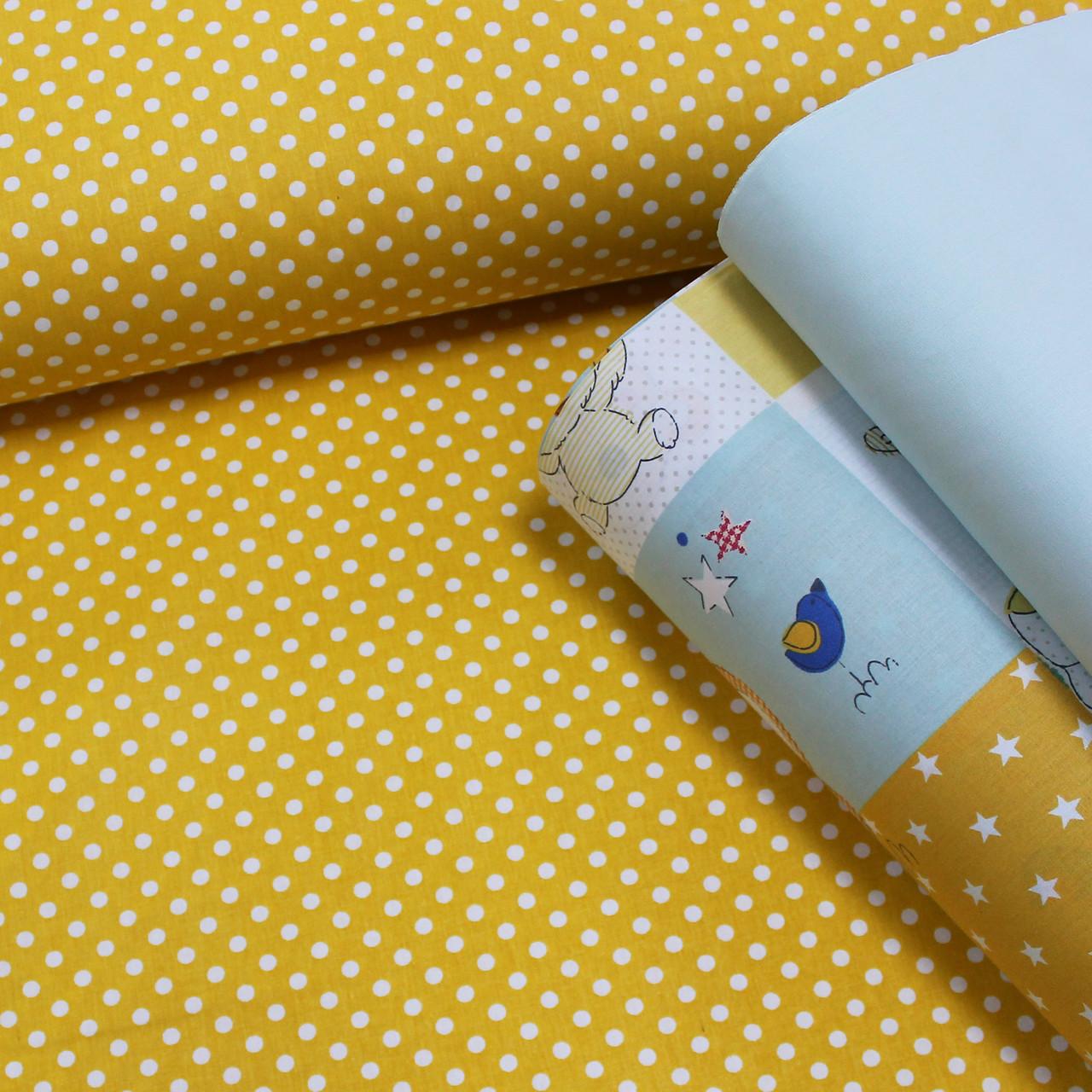 Хлопковая ткань (ТУРЦИЯ шир. 2,4 м) белый горошек на горчичном