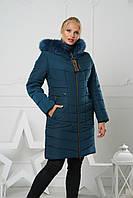 Модная женская куртка зимняя удлиненная с натуральным мехом. Цвет Изумруд.