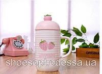 Кружка керамічна Полуниця з кришкою і ложечкою, фото 1