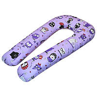 U-образная подушка для беременных Совы на фиолетовом.