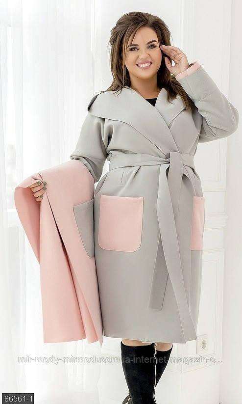 Пальто с жилетом комплект 86561-1 серый  с 48 по 58 размер (мш)