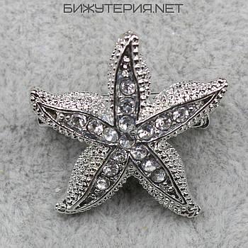 Брошь Морская звезда JB Silver с камнями белого цвета - 1040206397