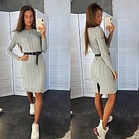 Платье женское вязаное теплое модное разные цвета Smld3740