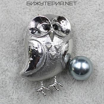 Брошь Сова JB Silver декорирована искусственным жемчугом  - 1040214486