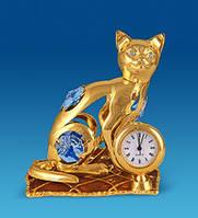 """Фигурка с часами """"Кошка на подушке"""" Сваровски с позолотой AR-3746 / 5"""