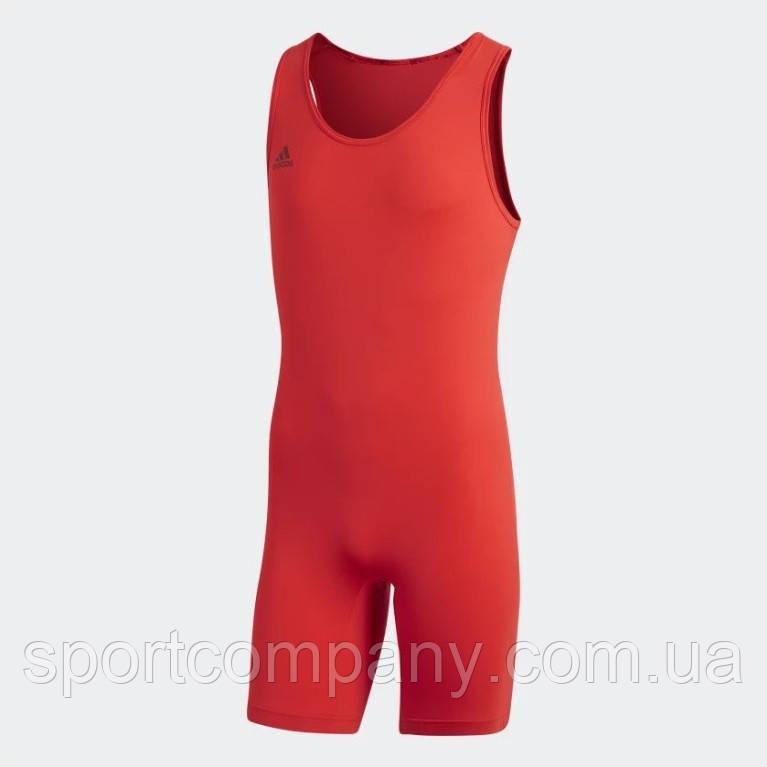 Костюм для тяжелой атлетики унисекс PowerLiftSuit Adidas красного цвета.