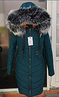 Зимняя курточка куртка парка Грация с мехом. Цвет Изумруд.